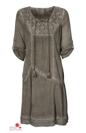 Платье  серо-коричневый хаки цвета
