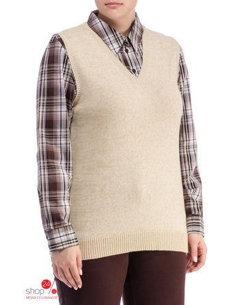 Пуловер  бежевый, коричневый, клетка цвета