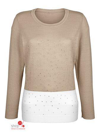 Пуловер  песочный, белый цвета