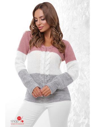 Пуловер  розовый, молочный, темно-серый цвета