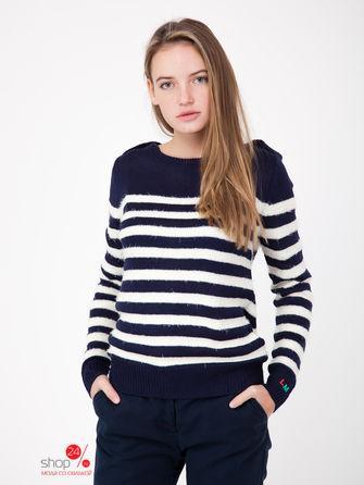 Пуловер  синий, белый, полоска цвета