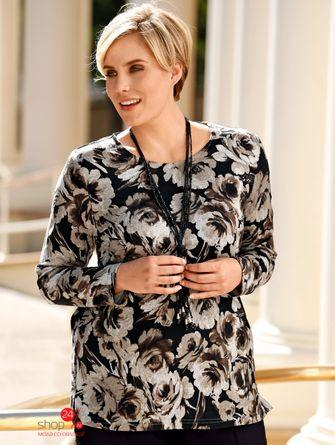 Пуловер  серый, черный, рисунок цвета