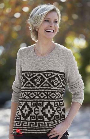 Пуловер  бежевый, черный, рисунок цвета