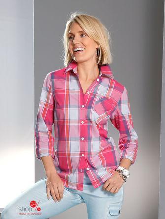 Рубашка  розовый, синий, клетка цвета