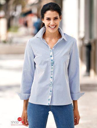 Рубашка  голубой, белый, полоска цвета