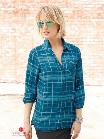 Рубашка  синий, клетка цвета