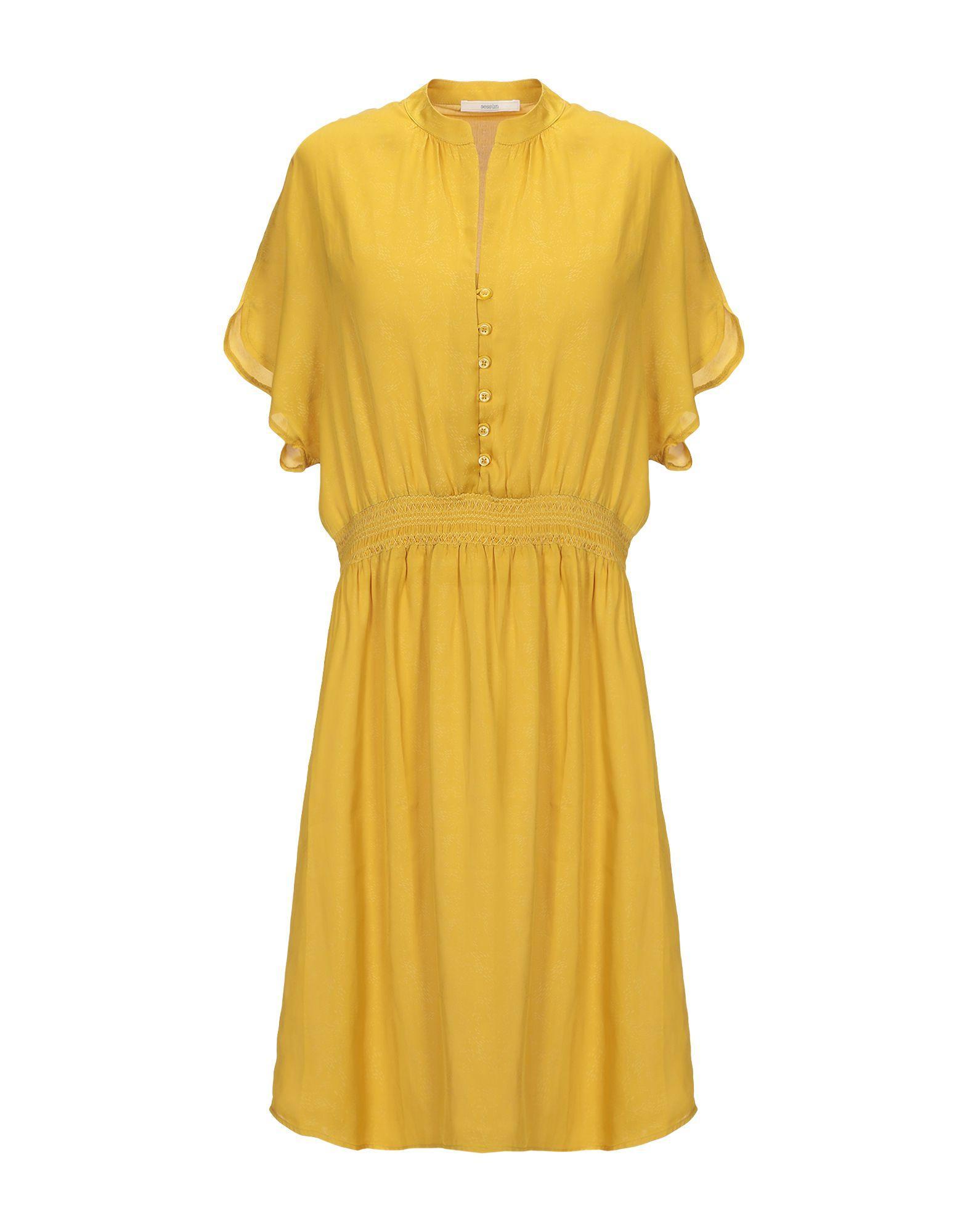Короткое платье  - Желтый,Синий цвет