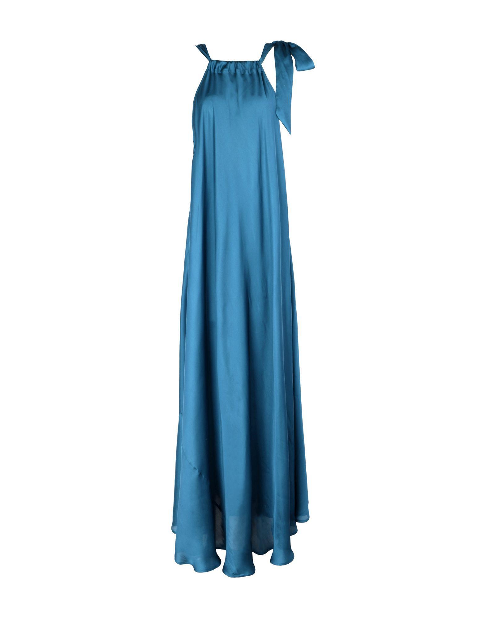 Длинное платье  - Коричневый,Синий цвет